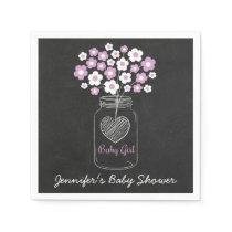 Purple Floral Mason Jar Baby Shower Paper Napkin