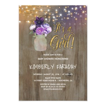 Toddler & Baby themed Purple Floral Mason Jar Rustic Baby Shower Card