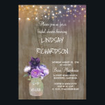 """Purple Floral Mason Jar Rustic Barn Bridal Shower Card<br><div class=""""desc"""">Lilac and plum purple flowers mason jar rustic bridal shower invitations with barn wood and string lights</div>"""