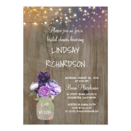 Purple Floral Mason Jar Rustic Barn Bridal Shower Card