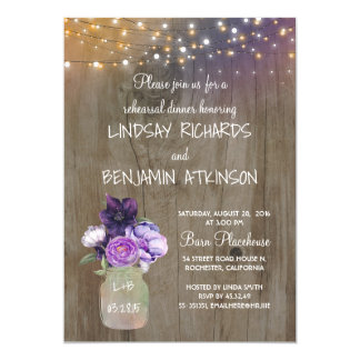 Purple Floral Mason Jar Rustic Rehearsal Dinner Card