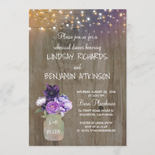 Lilac Lavender Floral Light Purple Faux Gold Foil Rehearsal Dinner Invitations Printed Or Printable Weddding Rehearsal Dinner Invites
