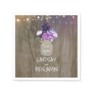 Purple Floral Mason Jar Rustic Wedding Paper Napkin