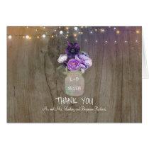 Purple Floral Mason Jar Rustic Wedding Thank You