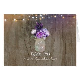 Purple Floral Mason Jar Rustic Wedding Thank You Card
