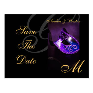 Purple Floral Masquerde Save The Date Postcard