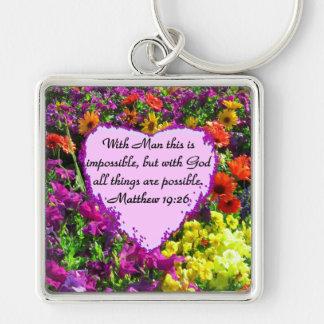PURPLE FLORAL MATTHEW 19:26 PHOTO DESIGN KEYCHAIN