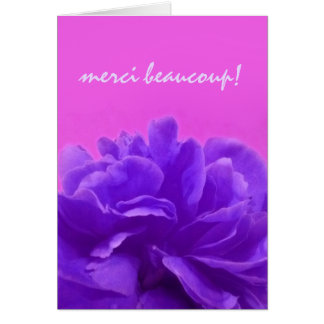 Purple Floral Merci Beaucoup Thank You Card