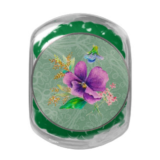 Purple Floral Mint Green Faux Distressed Lace Glass Candy Jar