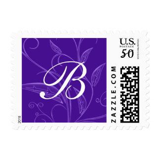 Purple Floral Monogram Custom Postage