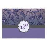 "Purple Floral Monogram Response Card 3.5"" X 5"" Invitation Card"