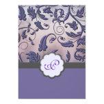 "Purple Floral Monogram Wedding Invite Full Border 5"" X 7"" Invitation Card"