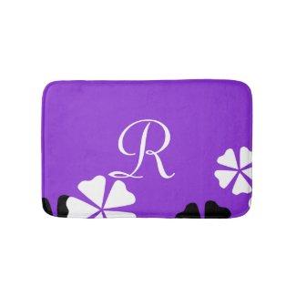 Purple Floral Monogrammed Plush Bath Mat