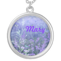 Purple Floral Name Necklace