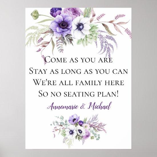 Purple Floral No Seating Plan Wedding Sign