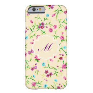 Purple Floral on Cream Monogram iPhone 6 Case