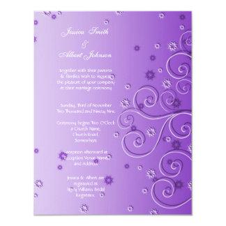 Purple Floral Ornament Swirls Wedding Invitation
