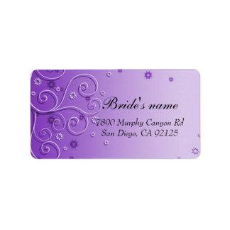 Purple Floral Ornaments Swirls address label