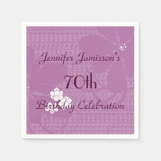Purple Floral Paper Napkins, 70th Birthday Party Napkin