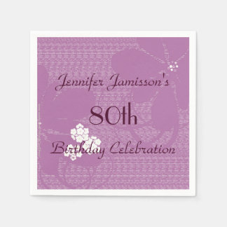 Purple Floral Paper Napkins, 80th Birthday Party Standard Cocktail Napkin