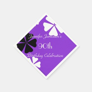 Purple Floral Paper Napkins, 90th Birthday Party