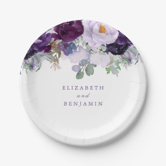 Purple Floral Paper Plate
