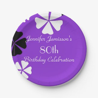 Purple Floral Paper Plates, 80th Birthday Party