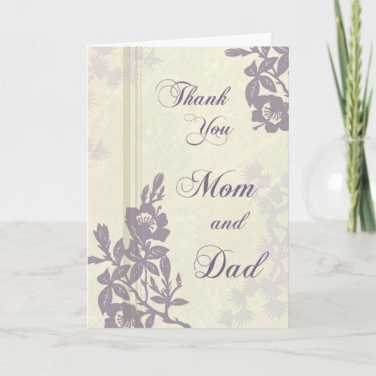 Purple Floral Parents Wedding Day Thank You Card Zazzle Com