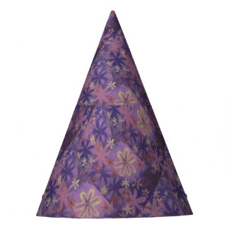purple floral party hat