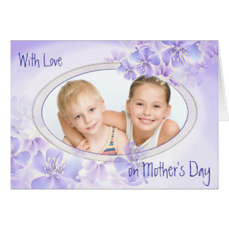 Purple Floral Pastel Mother's Day Photo Card