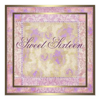 Purple Floral Patch Work Birthday Invitation