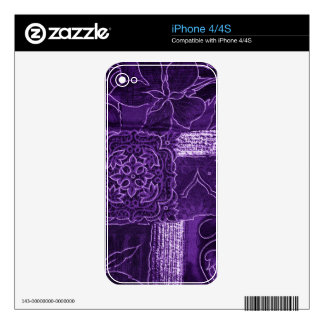 Purple Floral Patchwork Fabric Decals For iPhone 4
