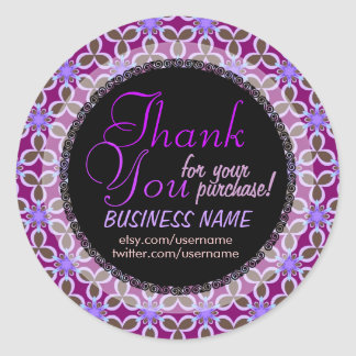 Purple Floral Pattern Business Thank You Sticker