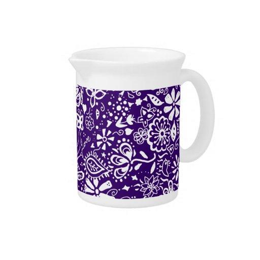 Purple Floral pattern Doodle Beverage Pitchers