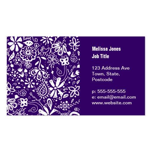 Purple Floral pattern Doodle Business Card