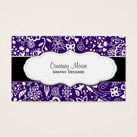 Purple Floral pattern Doodle business cards
