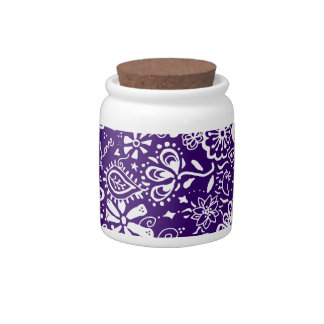 Purple Floral pattern Doodle Candy Jar