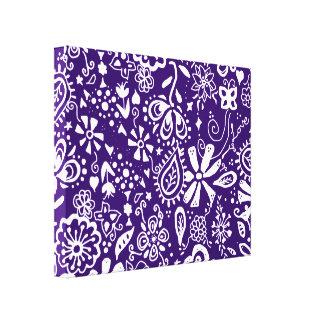 Purple Floral pattern Doodle Canvas Prints