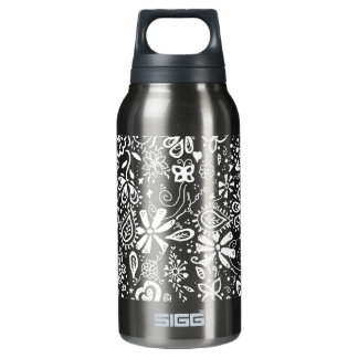 Purple Floral pattern Doodle Insulated Water Bottle