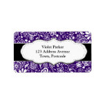 Purple Floral pattern Doodle Personalized Address Labels