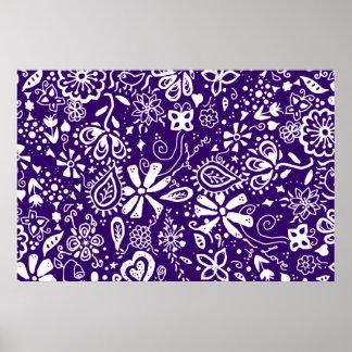 Purple Floral pattern Doodle Print