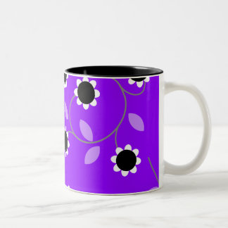 Purple Floral Pattern Two-Tone Coffee Mug