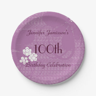 Purple Floral Personalized 100th Birthday Party Paper Plate