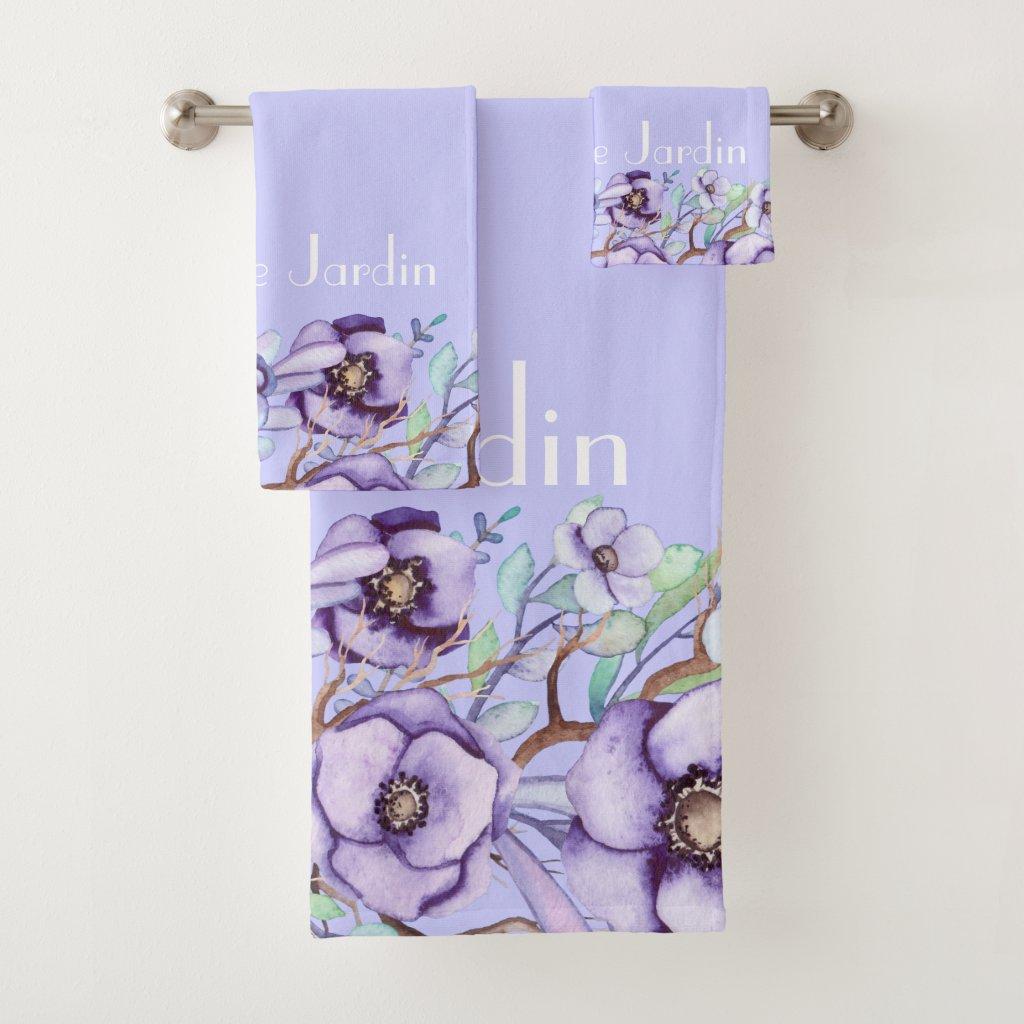 Purple floral - personalized bath towel set