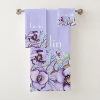 Purple floral - personalized bath towel set
