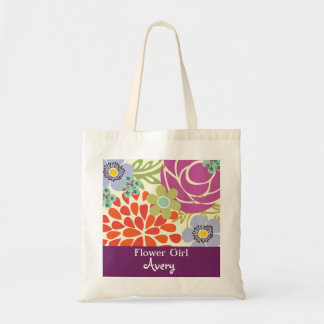 Purple Floral Personalized Bridal Wedding Tote Bag