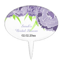 purple floral Personalized Cake Picks