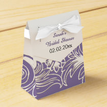 purple floral personalized favor boxes