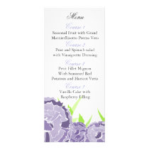 purple floral Personalized Menu cards