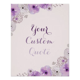 Purple floral Personalized quote Custom print